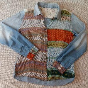 Artisan De Luxe Button Down Boho Chambray Shirt